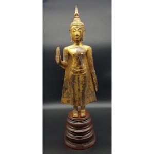 Thaïlande - Bouddha Debout En Bronze Doré - Période Du Royaume Ayutthaya - Fin 17ème.