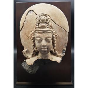 Inde / Bangladesh - Tête de Surya en terre cuite - Période Gupta - 4/5ème Siècle - TL