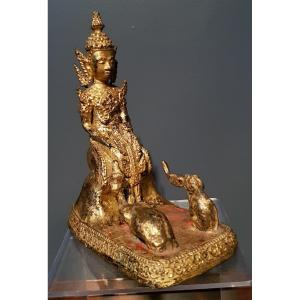 Thaïlande - Bouddha Singe Et éléphant - Jataka - Rattanakosin - Fin 19ème.