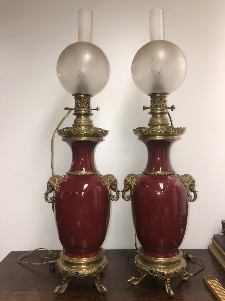 Pairs Of Large Oil Lamps