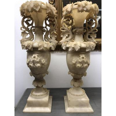 A Pair Of Louis Philippppe Albast Vases (ca 1860)