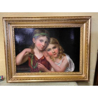 Peinture d'Epoque Empire Des Deux Jeune Filles
