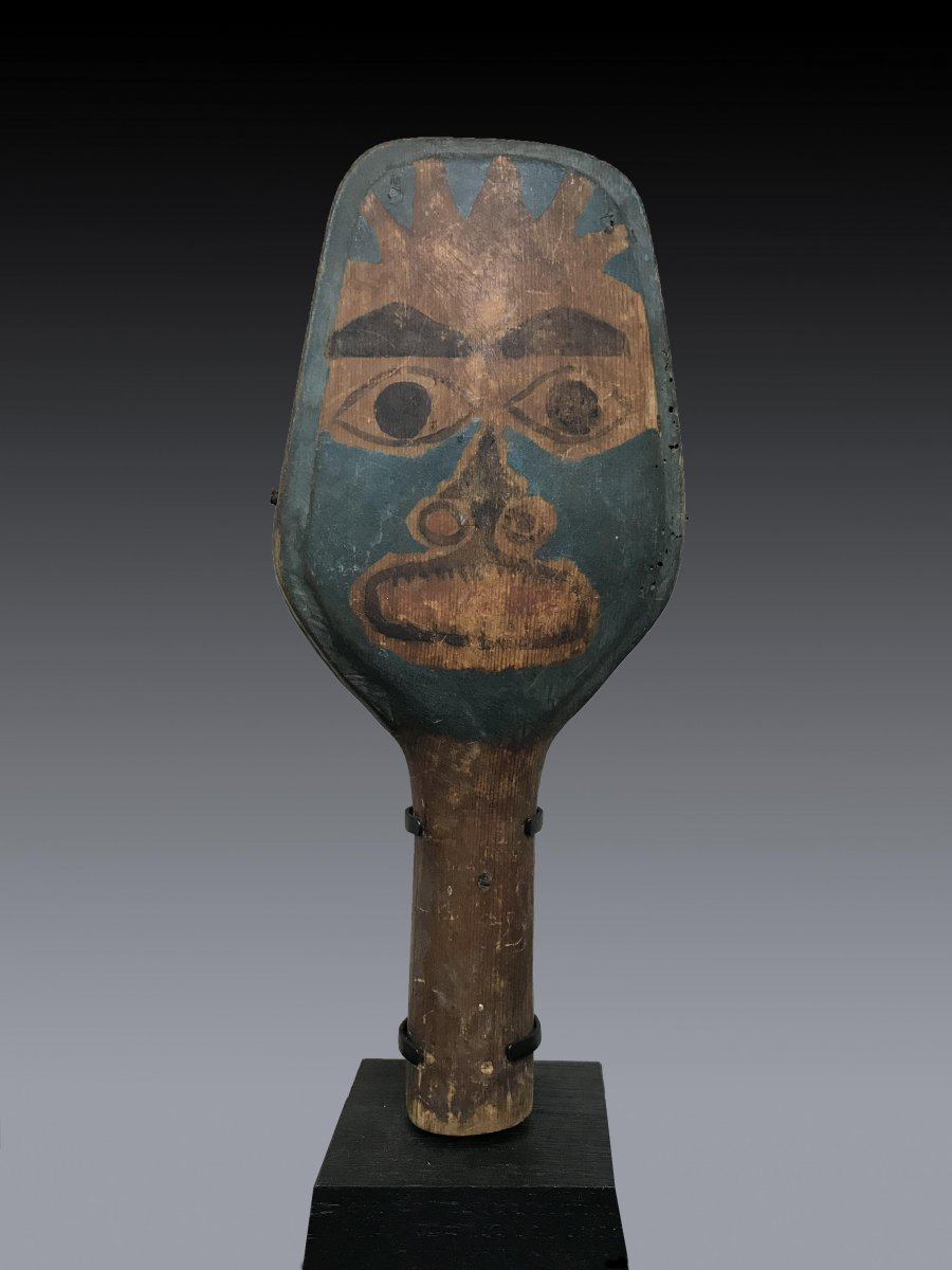 Haida Shaman Rattle, British Columbia In Polychrome Wood With Anthropomorphic Figure