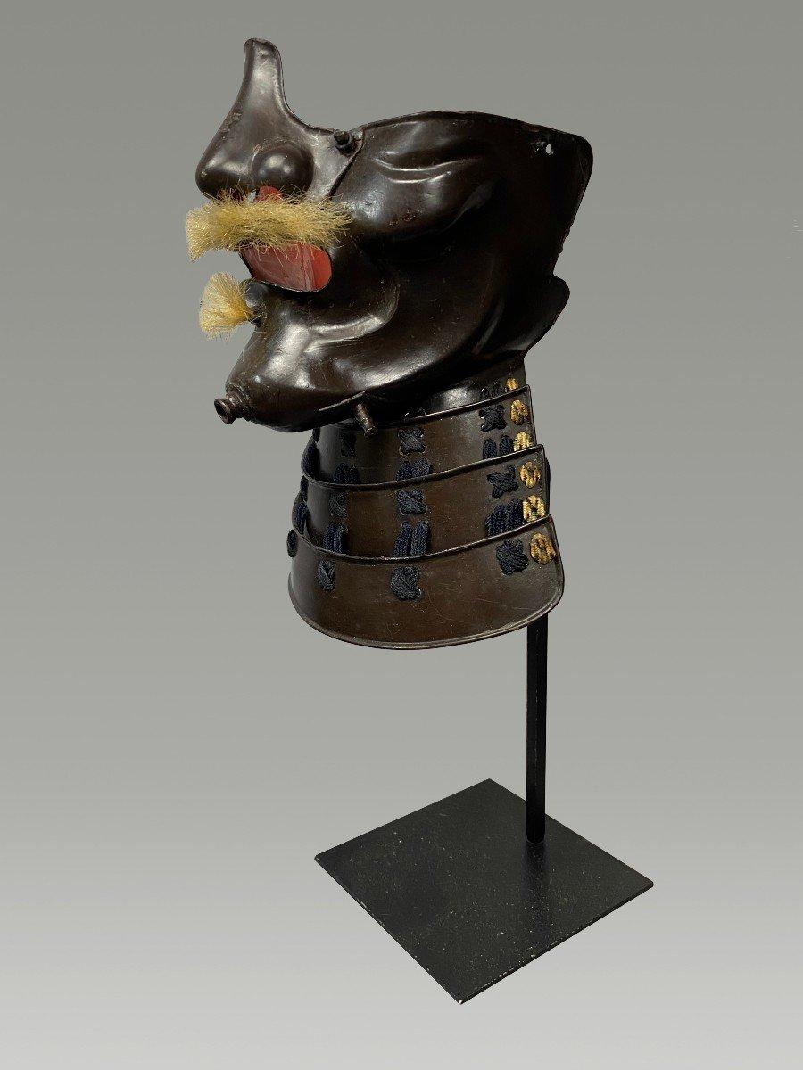 Demi Masque De Samouraï Mempo En Fer Laque Noire Periode Edo