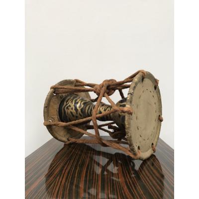 Ko-tsuzumi Hourglass Shaped, Lacquered Wood - Japan Meiji Period (1868-1912)