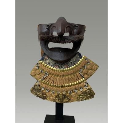 Demi Masque De Samouraï Mempo En Fer Laque Periode Edo