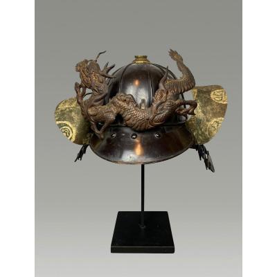 Samurai Helmet, Kabuto Period Edo 12 Slats And Dragon