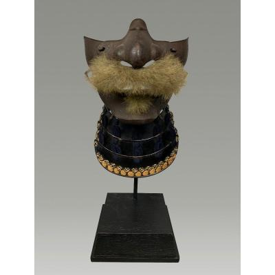 Half Samurai Mempo Mask Sign Iwai Yasutada