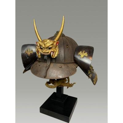 Kabuto Samurai Helmet - Metal , Et Laiton -oni En  Bois - Japon - Fin De La  Edo