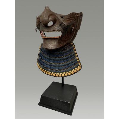 Half Samurai Mempo Mask In Raw Iron Edo Period
