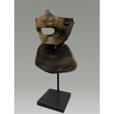 Half Samurai Mempo Mask In Raw Iron And Mesh Rib Edo Period