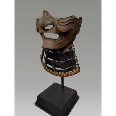 Demi Masque De Samouraï Mempo En Fer  Brut  Et Moustache Periode Edo