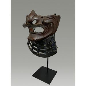 Demi Masque De Samouraï Mempo En Fer Laque Milieu  Periode Edo