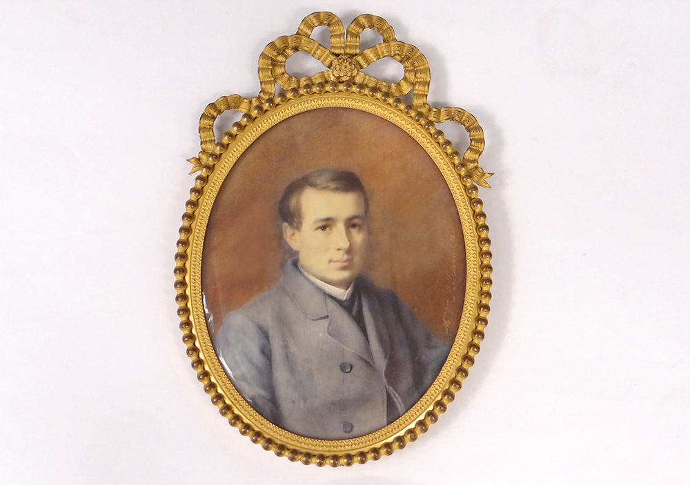 Miniature Painted Oval Portrait Young Man Costume Adele Lallemand Nineteenth