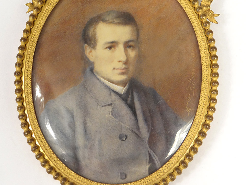 Miniature Painted Oval Portrait Young Man Costume Adele Lallemand Nineteenth-photo-2