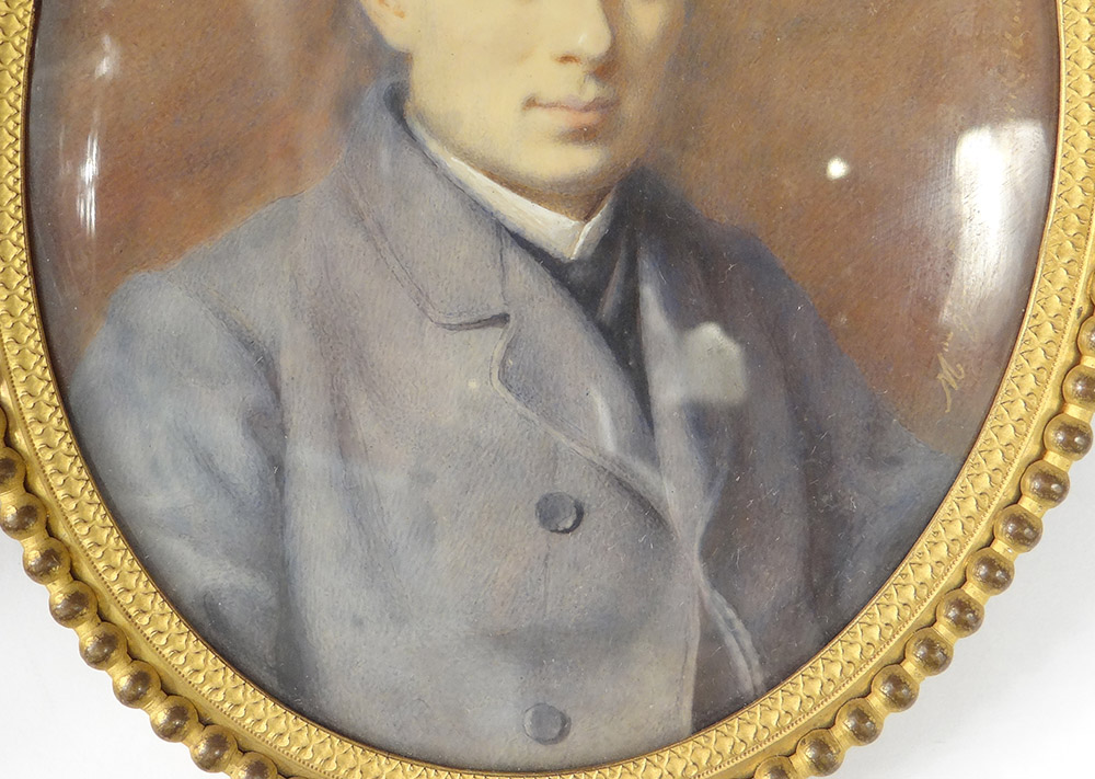 Miniature Painted Oval Portrait Young Man Costume Adele Lallemand Nineteenth-photo-4