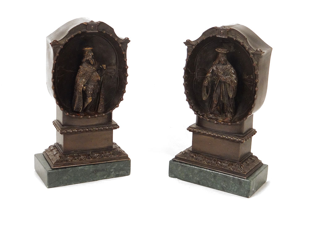 Paire Sculptures Bronze Personnages Renaissance Alcôve Navigateurs XIXè