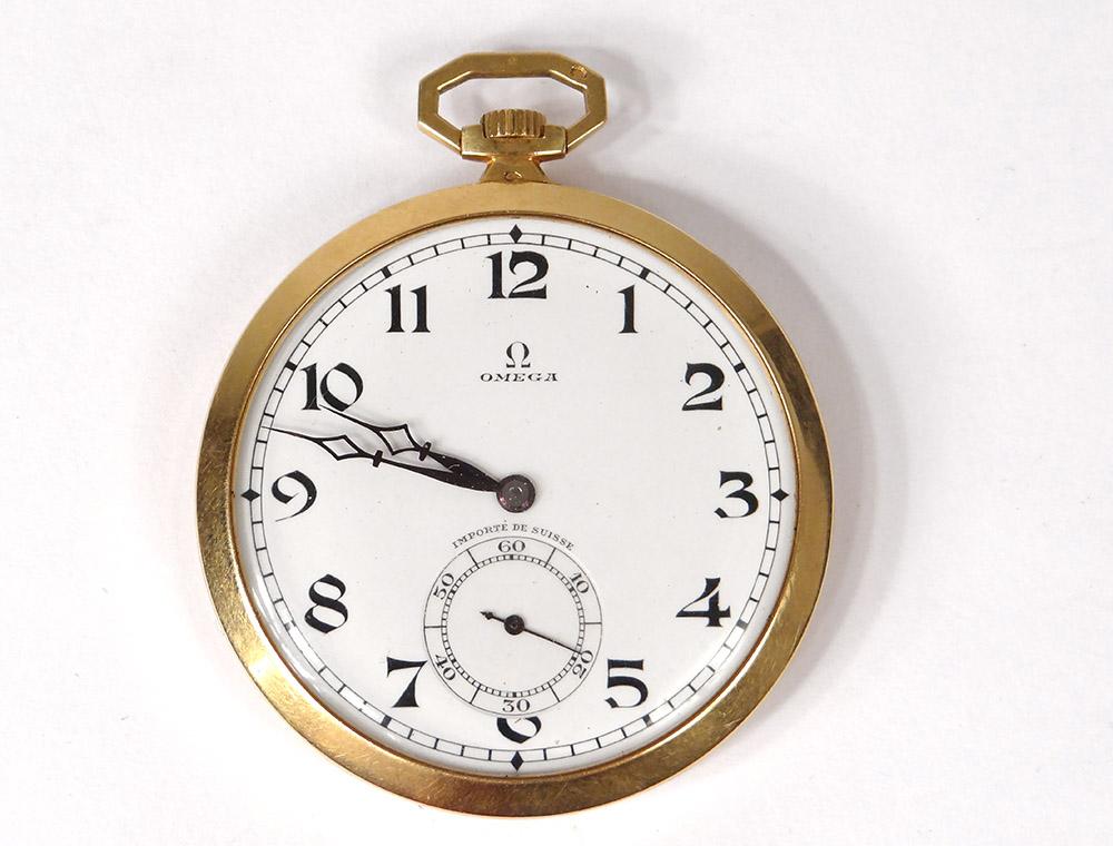 Montre de Poche Chronomètre Omega Or Massif 18 Carats Art Déco Swiss XXè