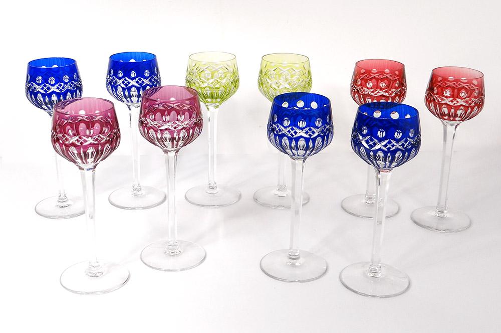 10 Verres Vin Rhin Roemers Cristal Saint-louis Couleur Modèle Traminer XXè