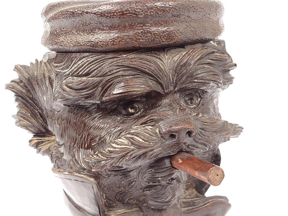 Pot à Tabac Bois Sculpté Black Forest Tête Chien Cigare Noeud XIXè-photo-3