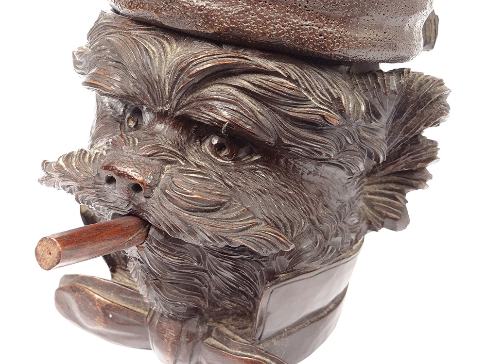 Pot à Tabac Bois Sculpté Black Forest Tête Chien Cigare Noeud XIXè-photo-4