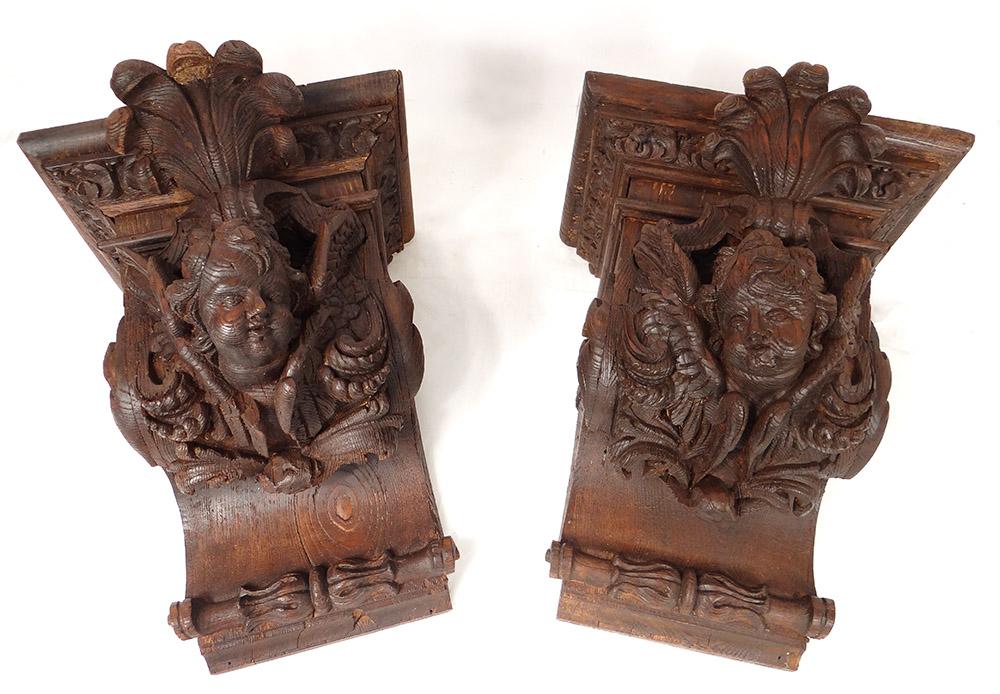 Paire Consoles d'Applique Bois Sculpté Têtes Angelots Putti Feuillage XIXè