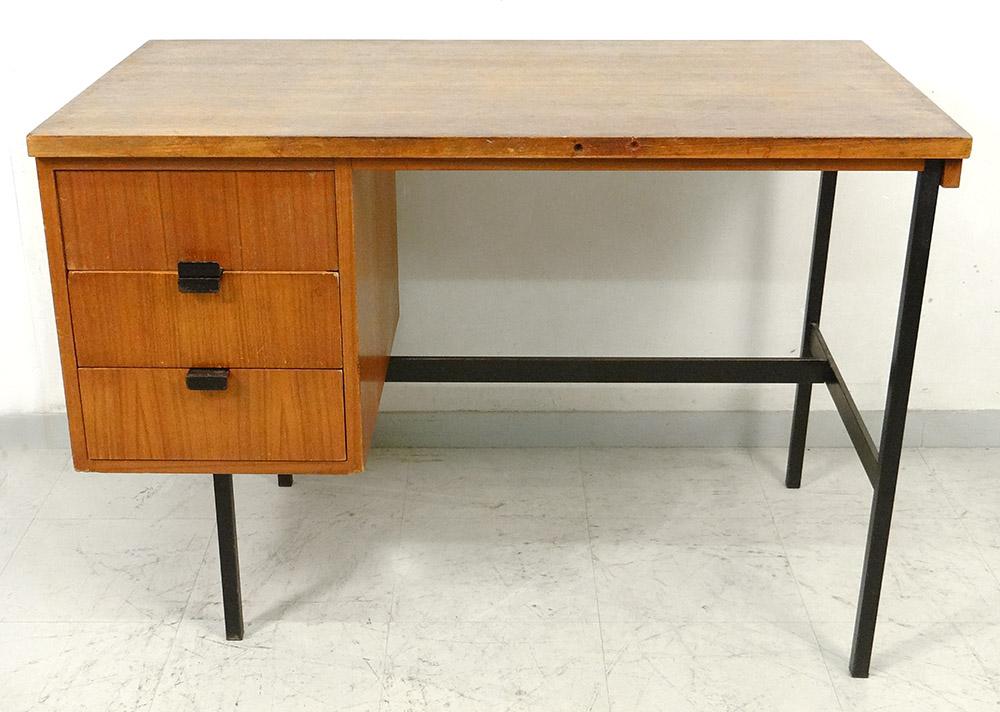 Bureau Moderniste Jacques Hitier Chêne 1950 Design Vintage XXè