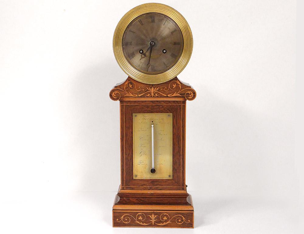 Pendule Borne Charles X Thermomètre Palissandre Marqueterie Pons XIXè