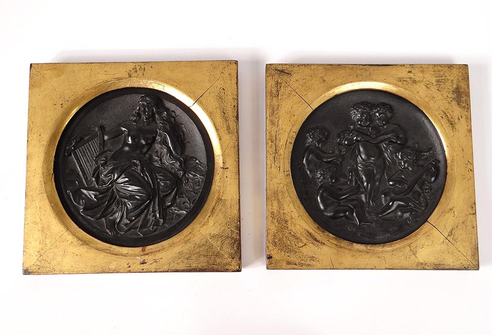 Paire Sculptures Bas-reliefs ébonite Femme Angelots Musiciens Napoléon III XIXè