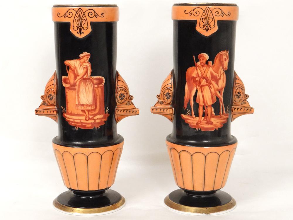 Paire Vases Porcelaine Paris Personnages Orientalistes Cheval XIXè