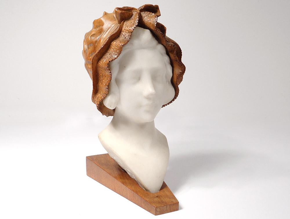 Sculpture Tête Jeune Femme Marbre Carrare Bois Sculpté Hollande XIXème