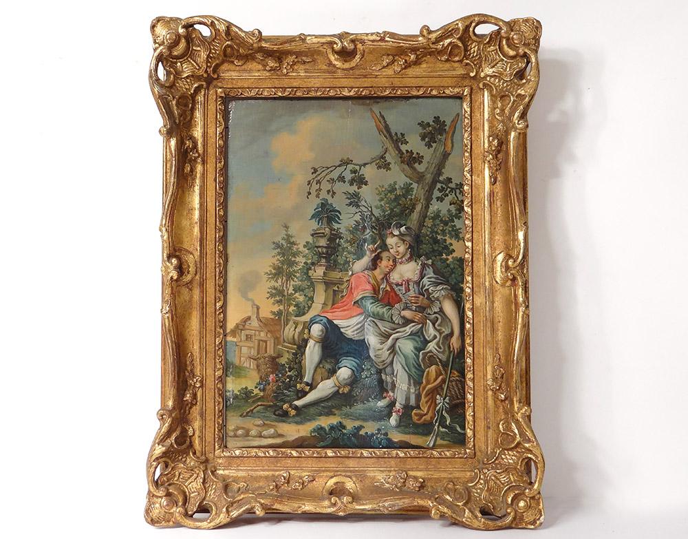 HSP Tableau Scène Galante Couple Bergère Paysage Romantique XVIIIè