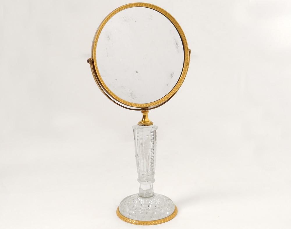Mirror Table Ice Psyche Gilt Bronze Cristallo-porcelain Frileuse Empire Nineteenth