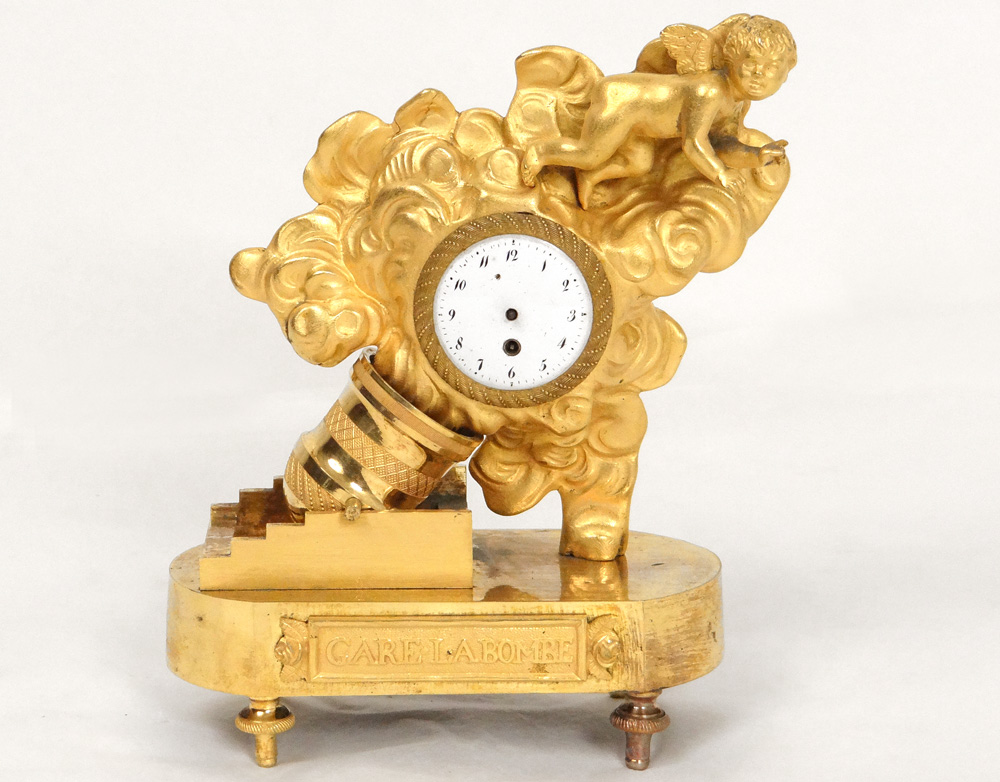 Gilded Bronze Clock Station At The Bomb Charles Le Roy Directory XVIII