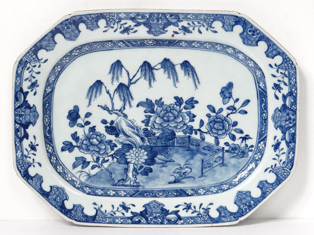 Plat Octogonal Porcelaine Chine Blanc-bleu Paysage Jardin Qianlong XVIIIè