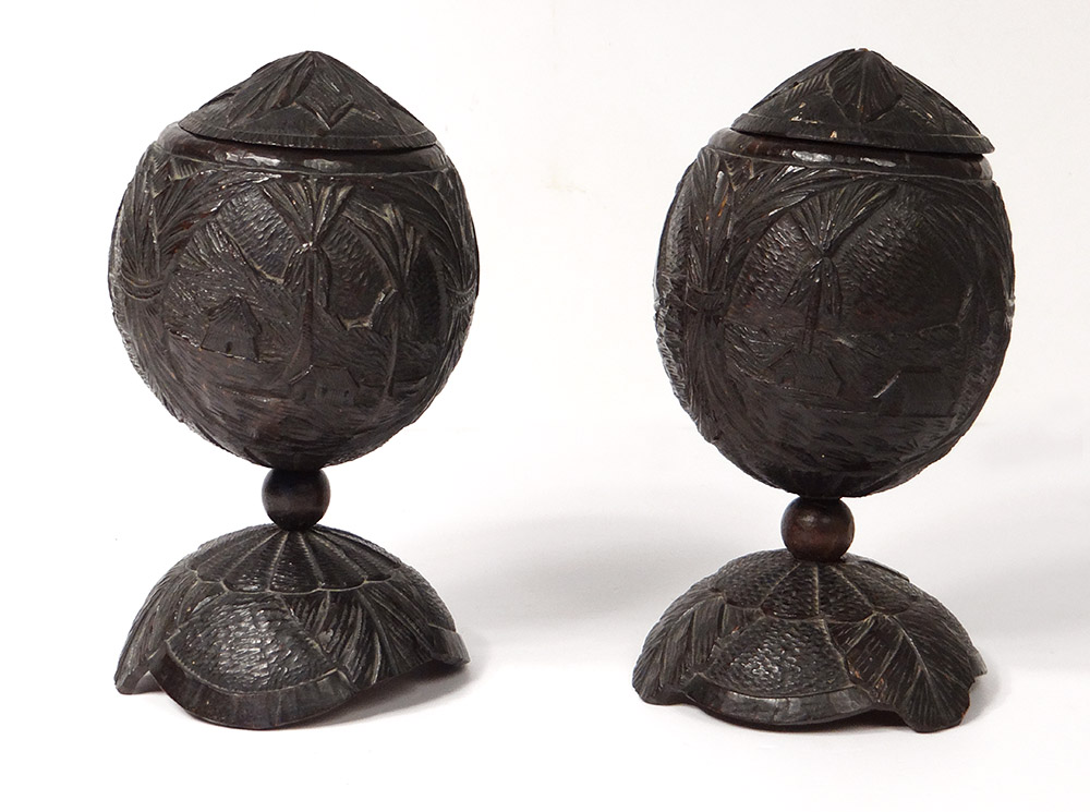 Pair Coconut Carved Cuts Guyana Boats Landscape Bagnard Nineteenth