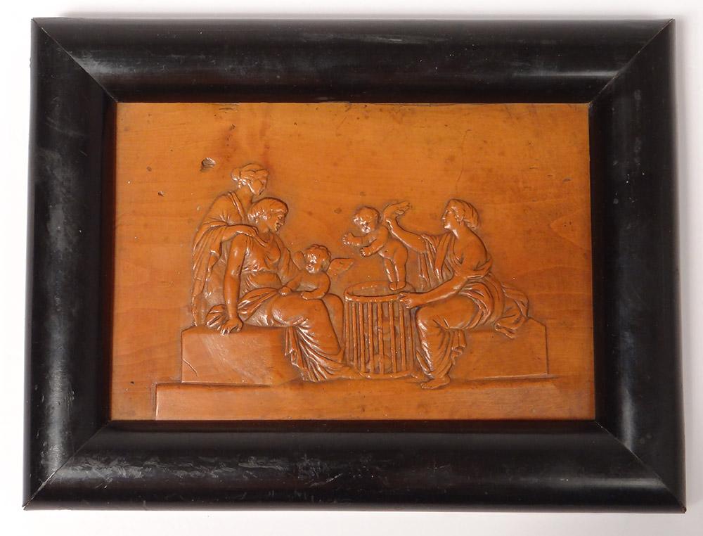Plaque Bas-relief Buis Sculpté Femmes Antiques Angelots Jeune Enfant XIXème