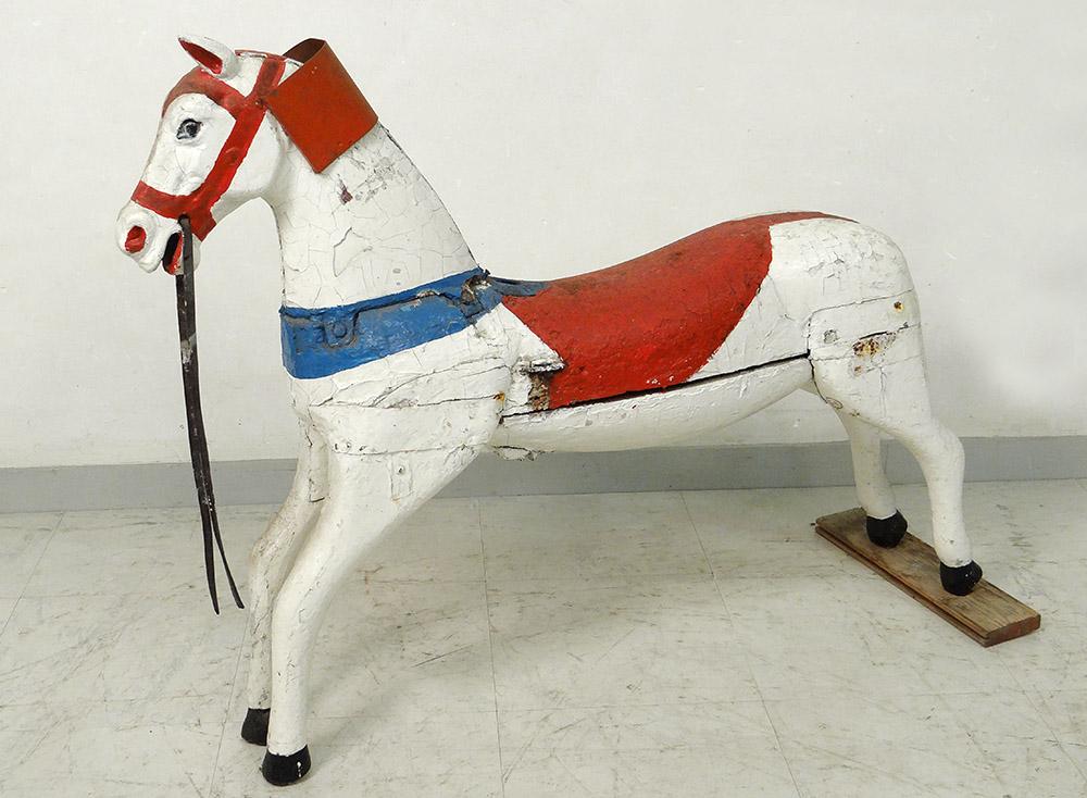 Cheval de Manège Carroussel Bois Sculpté Polychrome XIXème Siècle