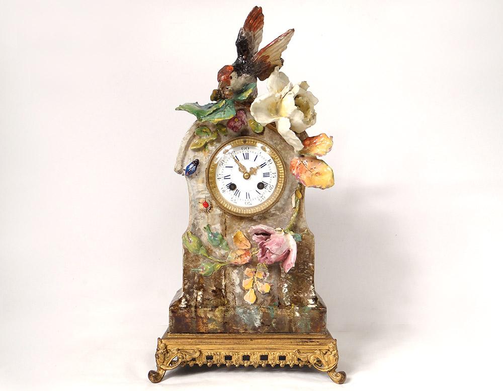 Pendule Barbotine Fontainebleau Théodore Lefront Oiseau Insectes XIXè