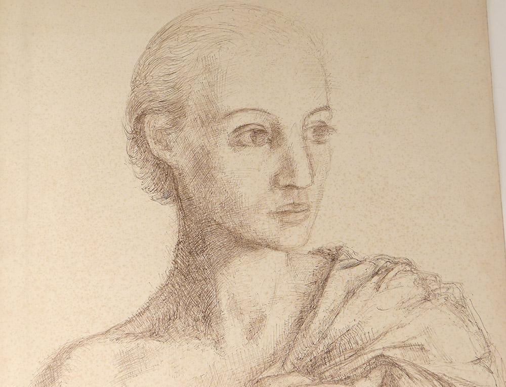 Dessin Encre Ernst Van Leyden Portrait Femme Karin Van Leyden Portret 1933-photo-2