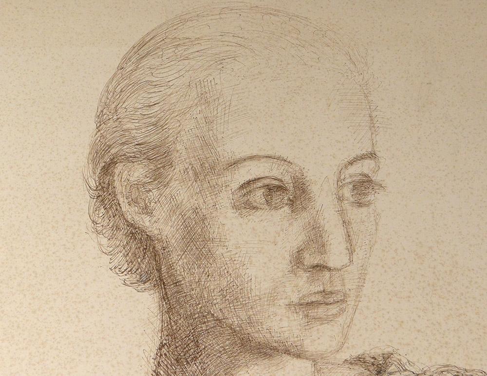 Dessin Encre Ernst Van Leyden Portrait Femme Karin Van Leyden Portret 1933-photo-3