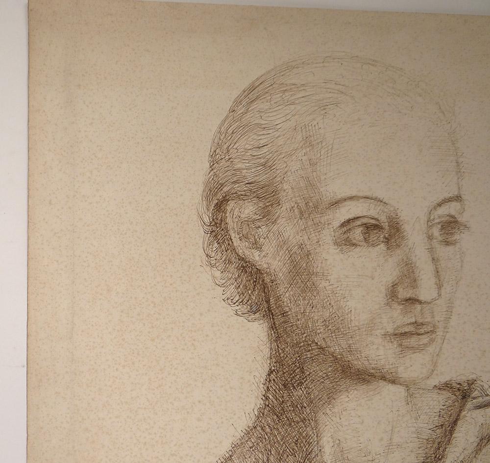 Dessin Encre Ernst Van Leyden Portrait Femme Karin Van Leyden Portret 1933-photo-4