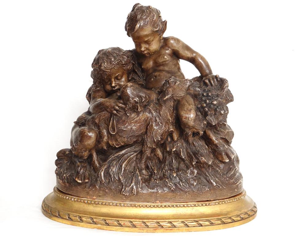 Sculpture Terre Cuite Charles Perron Jeunes Faunes Satyres Chèvre XIXème