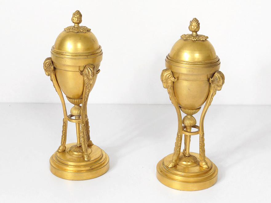 Paire Cassolettes Bougeoirs Bronze Doré Béliers Napoléon III XIXème