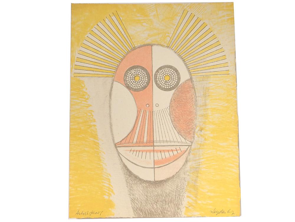 Lithographie Couleurs Ernst Van Leyden Emaciated Owl 1967 Abstrait EA AP