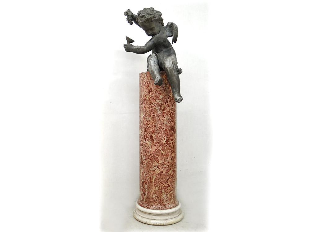 Sculpture angelot putto plomb fontaine colonne scagliola Louis XIV XVIIème