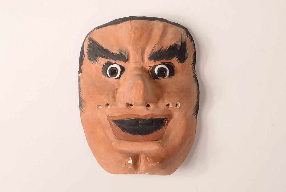 Masque de Nô Théâtre Bois Polychrome Démon Gigaku O-beshimi Japon XIXème