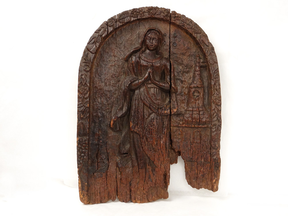 Sign Carved Wood Woman Angelus Village Alsace Schalbach Bell Tower 15th-16th