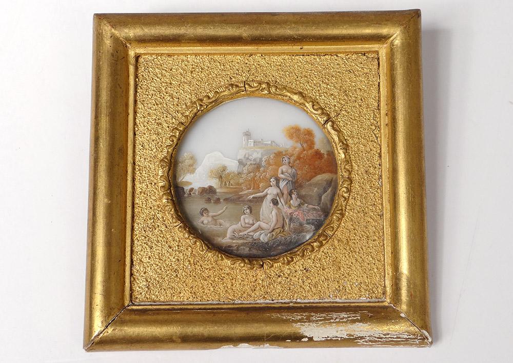 Miniature Peinte Femmes Baigneuses Paysage Montagnes Lac Romantique XIXème