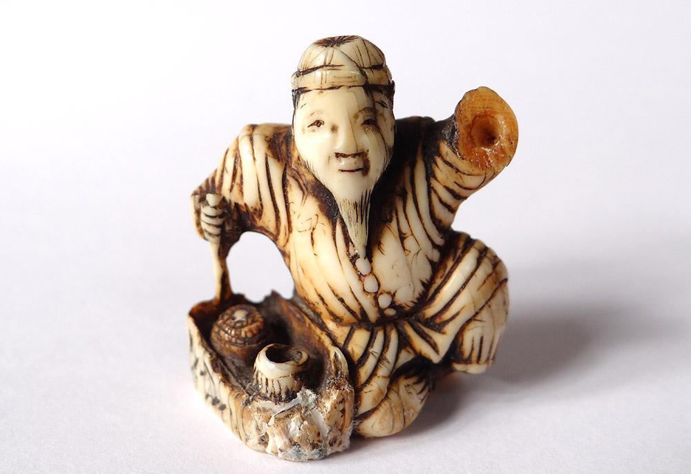 Netsuke Katabori Ivory Carved Signed Tomokazu Old Man Wise Japan Edo Nineteenth Teeth Bone Ivory